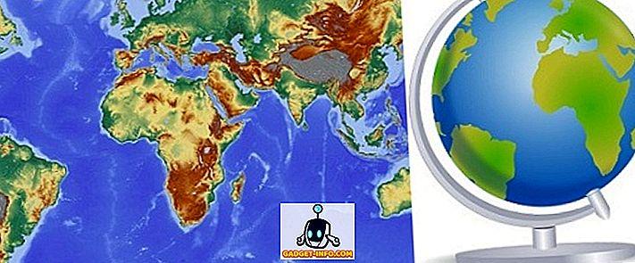 Erinevus kaardi ja Globe vahel