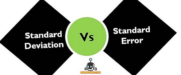 के बीच अंतर - मानक विचलन और मानक त्रुटि के बीच अंतर